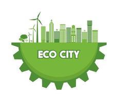 ciudad ecológica en el planeta verde vector