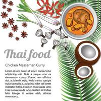 Thai delicious and famous food Chicken Curry or massaman with isolated white background ingredient vector