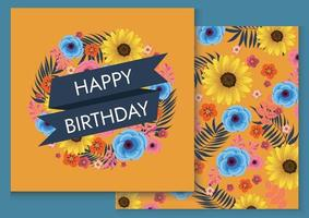 colourful birthday background illustration design for card vector