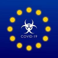 EU FLAG WITH CORONAVIRUS MOLECULES INSTEAD OF STARS vector
