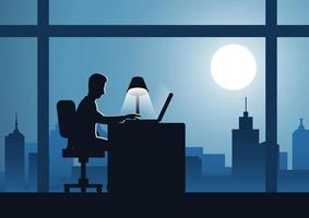 business man works overtime in cityscape at night vector