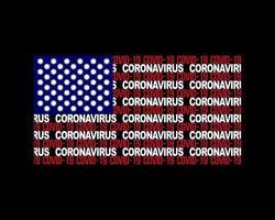 AMERICAN FLAG WITH CORONAVIRUS MOLECULES vector