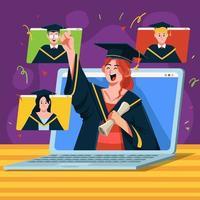 New Normal Digital Graduation Meeting vector