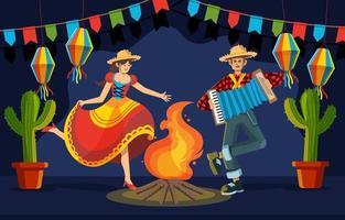 Happy Night Dancing at Festa Junina vector