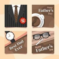 Cool Brown Father's Day Card vector