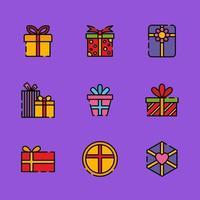 tipos de cajas de regalo vector