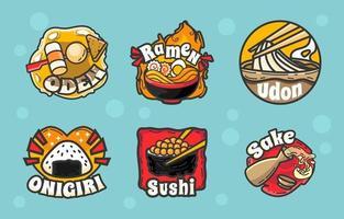 paquete de iconos de logotipo de comida japonesa vector