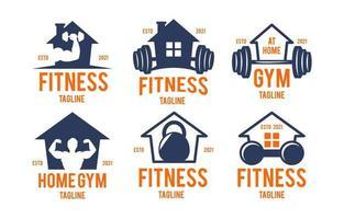 colección de logotipos de gimnasio en casa vector