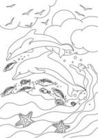 COLORING BOOK WITH DOLPHINS AND FISH ON THE SKY BACKGROUND vector