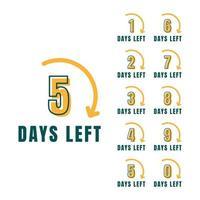 Number of days left promotional banner set vector