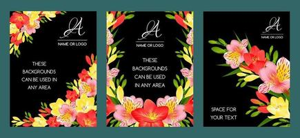THREE BLACK CARDS WITH TROPICAL FLOWERS vector