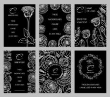 Collection of postcards with painted eustoma flowers vector