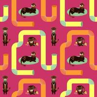 SEAMLESS PATTERN WITH BROWN FERRETS vector