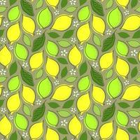 SEAMLESS GREY BACKGROUND WITH LEMON FRUIT AND LEAVES vector