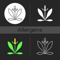 English plantain dark theme icon vector