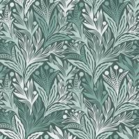 SEAMLESS GREEN FLORAL ORNAMENTS PATTERN vector