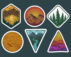 Adventure Landscape retro stickers vector illustration