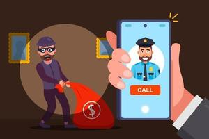 calling the police on robber concept vector