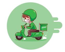 Food delivery man riding motorcycle cartoon art illustration vector