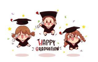 grupo de niños lindos graduándose ilustración de arte de dibujos animados vector