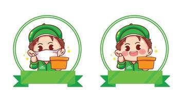 Set of Delivery Man logo banner cartoon art illustration vector