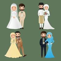 Set of characters cute muslim bride and groom.Wedding invitations card.Vector illustration in couple cartoon in love vector