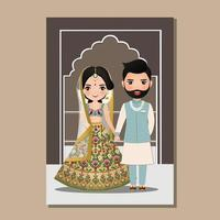 Wedding invitation card the bride and groom cute couple in traditional indian dress cartoon character. Vector illustration.
