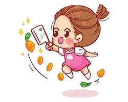 Cute girl jumping and cutting carrots cartoon art illustration vector