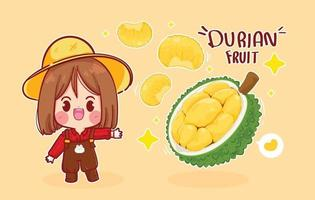 Cute girl farmer and durian fruit cartoon art illustration vector