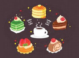 Hand drawn coffee and cake cartoon art illustration vector