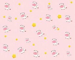 Cute cow animal pattern cartoon art illustration vector