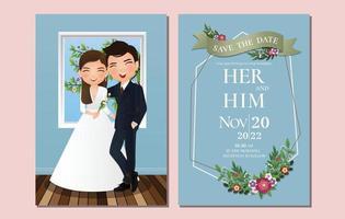 tarjeta de invitación de boda la novia y el novio linda pareja personaje de dibujos animados ilustración vectorial. vector