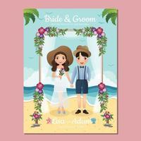 Tarjeta de invitación de boda la novia y el novio personaje de dibujos animados de pareja linda.Ilustración de vector. vector