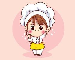 Cute chef girl smiling in uniform mascot cartoon art illustration vector