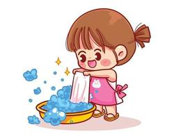 Cute girl washes clothes cartoon art illustration vector