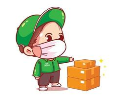 Delivery man parcel handover to customer cartoon art illustration vector