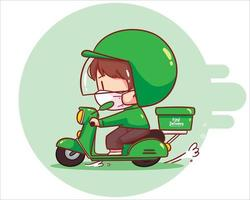 Food delivery cute man riding motorcycle cartoon art illustration vector