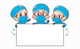 grupo de doctores felices que sostienen la ilustración de arte de dibujos animados de tablero en blanco blanco vector