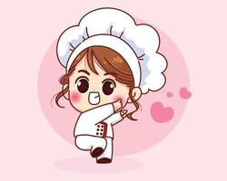 Cute chef girl smiling in uniform welcoming cartoon art illustration vector