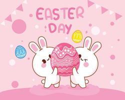 conejo con huevos feliz día de pascua ilustración de arte de dibujos animados dibujados a mano vector