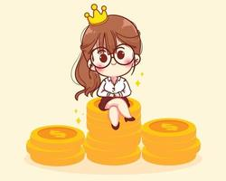 Successful woman sits on stacks of coins character cartoon art illustration vector