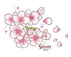 Branch of sakura flowers hand drawn cartoon art illustration vector