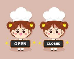 Cute chef girl smiling in uniform holding open and closed sign cartoon art illustration vector