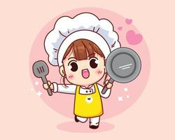 Cute chef girl smiling in uniform holding pan and spatula cartoon art illustration vector