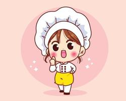 Cute chef girl smiling in uniform giving thumbs up cartoon art vector