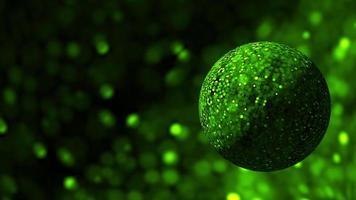 glittrande grön sfär som roterar i mörkt glittrande utrymme video