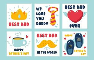 Cute Handdrawn Father's Day Card Set vector