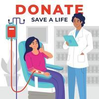 mujer voluntaria donando sangre vector