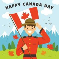 Canadian Man Celebrating Canada Independence Day vector