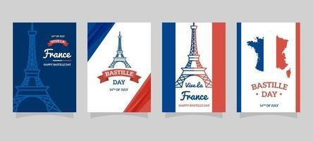 Bestille Day Festivity Card Collection vector